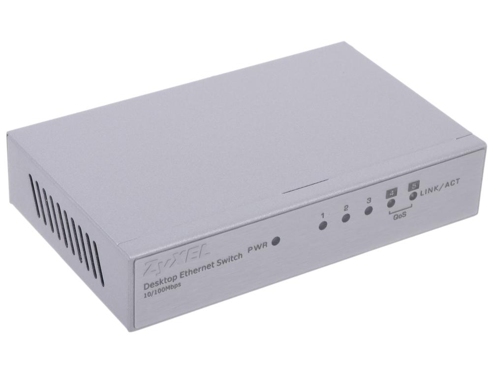 Коммутатор ZyXEL ES-105A Пятипортовый коммутатор Fast Ethernet с двумя приоритетными портами коммутатор zyxel es 105a v2 неуправляемый 5х100base t