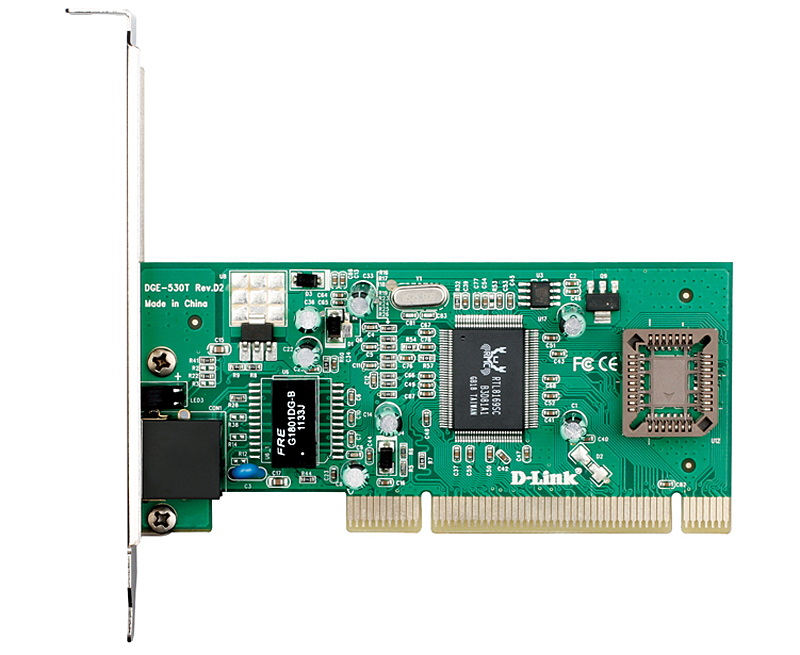 Сетевой адаптер D-Link DGE-530T Managed Gigabit Ethernet NIC 10/100/1000Mbps Managed Gigabit Ethernet UTP 32-bit PCI 2.2 (Bus Master) NIC PnP, SNMP