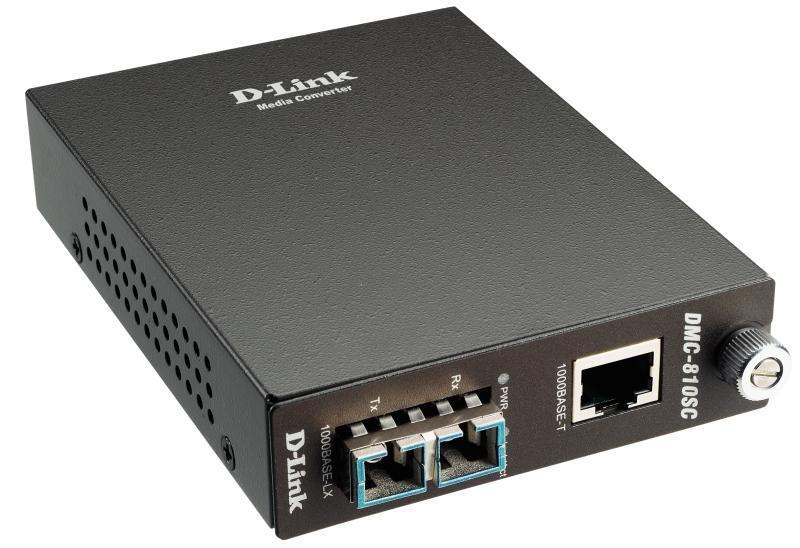 Медиаконвертер D-Link DMC-810SC/B9A Медиаконвертер с 1 портом 1000Base-T и 1 портом 1000Base-LX с разъемом SC для одномодового оптического кабеля (до