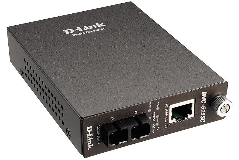 Медиаконвертер D-Link DMC-515SC/D6B Медиаконвертер с 1 портом 10/100Base-TX и 1 портом 100Base-FX с разъемом SC для одномодового оптического