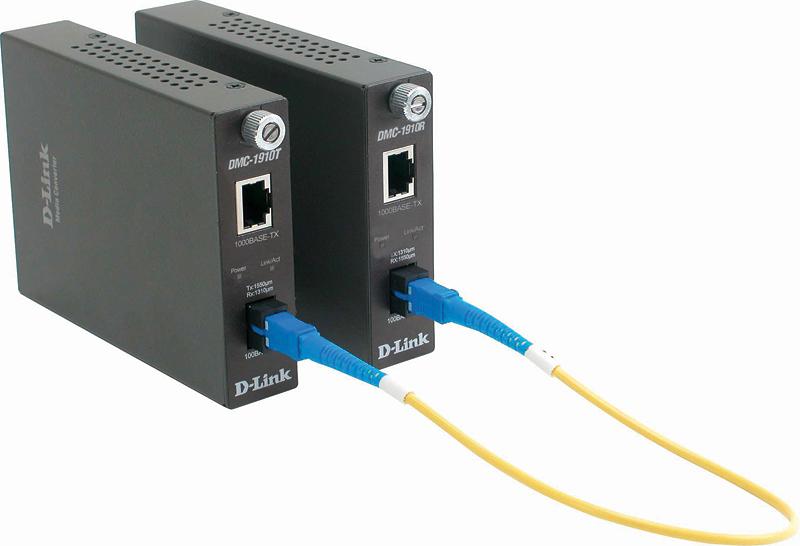 Медиаконвертер D-Link DMC-1910R Медиаконвертер (ТХ: 1310 нм; RX: 1550 нм) 1000BASE-T по витой паре на 1000BASE-LX (разъем SC)