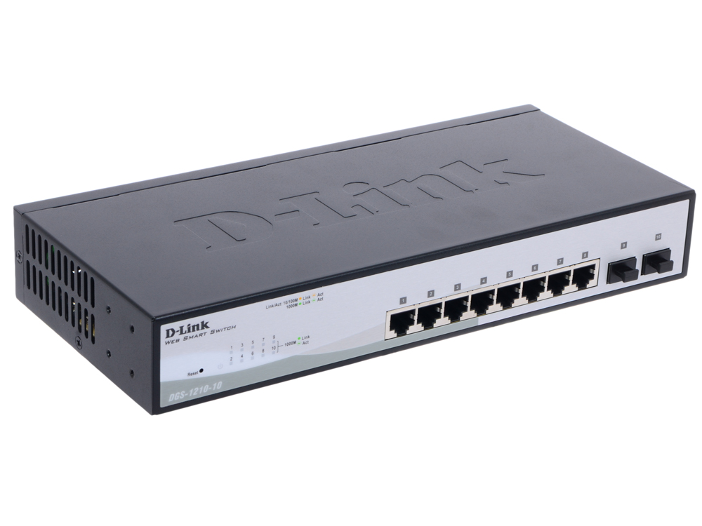 Коммутатор D-Link DGS-1210-10/C1A Gigabit Smart Switch with 8 10/100/1000Base-T ports and 2 Gigabit SFP ports 16 port poe switch with 2 gigabit tp sfp combo ports 802 3af 15 4w 10 100mbps