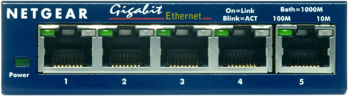 Коммутатор NETGEAR  GS105GE 5-портовый 10/100/1000 Мбит/с коммутатор с внешним блоком питания и функциями энергосбережения