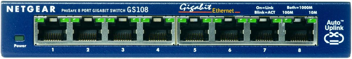 Коммутатор NETGEAR  GS108GE 8-портовый 10/100/1000 Мбит/с коммутатор с внешним блоком питания и функциями энергосбережения