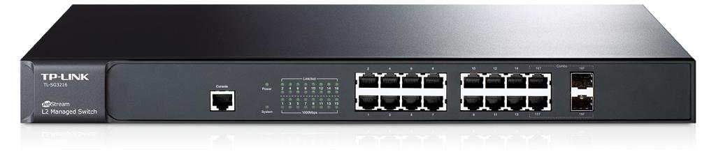 Коммутатор TP-LINK TL-SG3216 JetStream гигабитный управляемый 16-портовый коммутатор 2 уровня с 2 комбинированными SFP-слотами коммутатор tp link t2600g 28mps tl sg3424p jetstream 24 портовый гигабитный управляемый коммутатор poe 2 уровня с 4 sfp слотами
