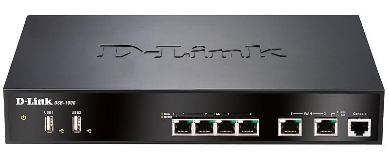 Межсетевой экран D-Link DSR-1000/B1A Гигабитный сервисный маршрутизатор с резервированием WAN портов