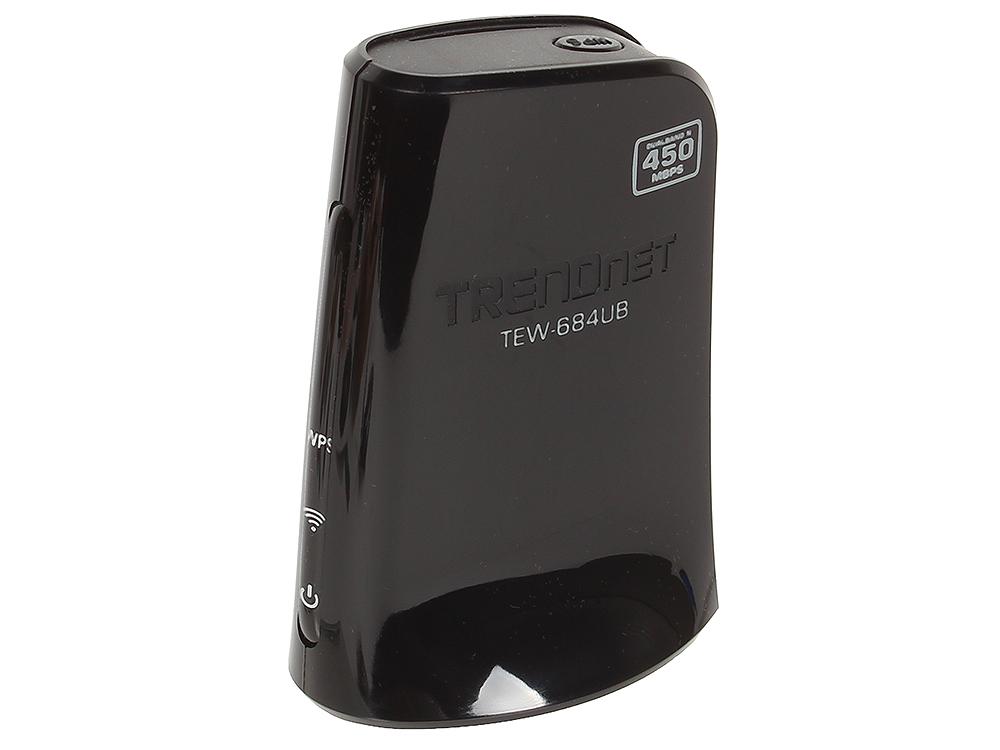 Адаптер Trendnet TEW-684UB  Wi-Fi USB-адаптер стандарта 802.11 Dual Band N 450 Мбит/с маршрутизатор trendnet tew 716brg 802 11bgn 150mbps 2 4 ггц 0xlan usb черный