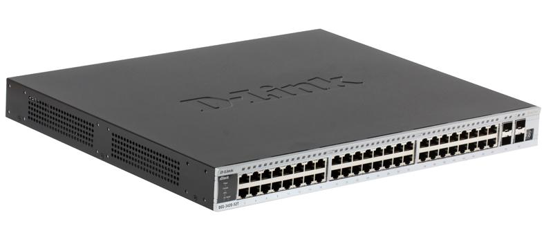 Коммутатор D-Link DGS-3420-52T/B1A Управляемый стекируемый коммутатор уровня 2+ с 48 портами 10/100/1000BASE-T и 4 портами SFP+ межсетевой экран d link dsr 500 b1a гигабитный сервисный маршрутизатор с резервированием wan портов