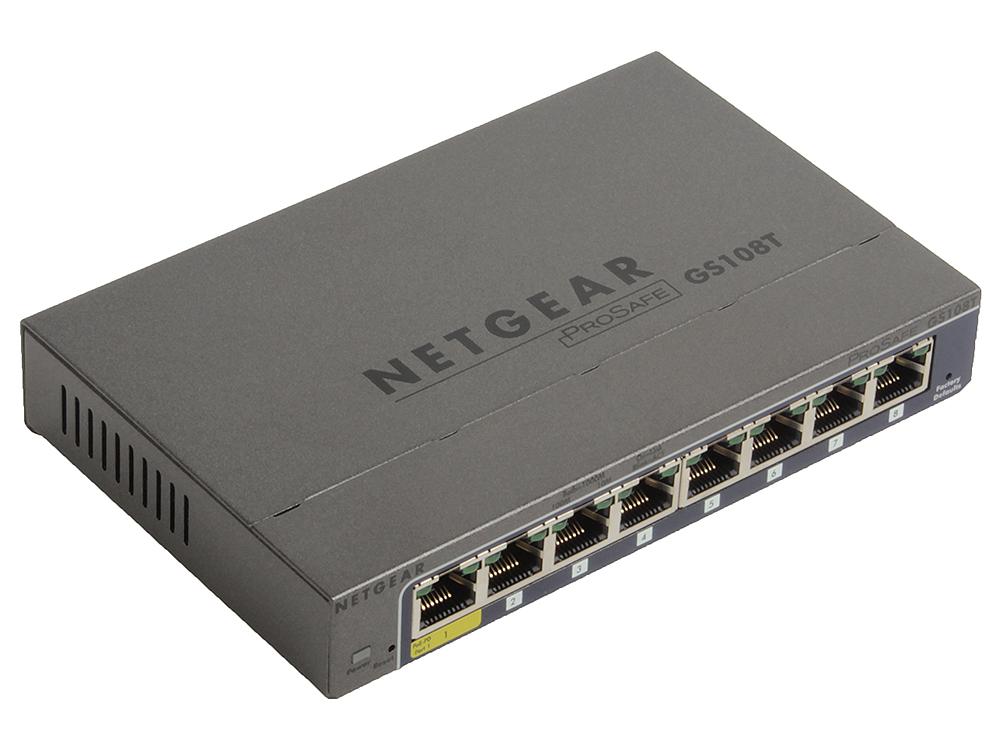 Коммутатор NETGEAR  GS108T-200GES Управляемый Smart, 8GE портов, внешниq блоком питания/питание PoE netgear gs108т 200ges