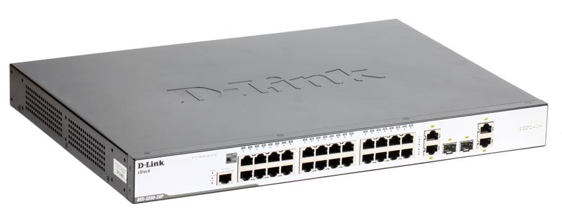 Коммутатор D-Link Switch DES-3200-28P Управляемый коммутатор 24x10/100Mbps, 4 Combo 1000BASE-T/SFP, 19'' коммутатор d link des 3200 28