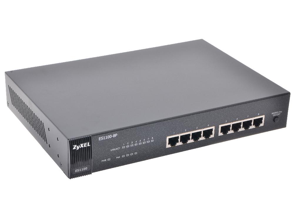 Коммутатор ZyXEL ES1100-8P 8-портовый коммутатор Fast Ethernet c 4 портами PoE