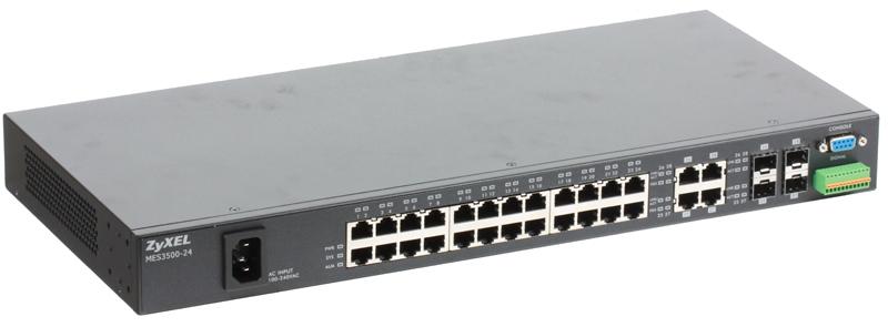 Коммутатор Zyxel MES-3500-24  24-портовый управляемый коммутатор L2+ Metro Fast Ethernet с 4 портами Gigabit Ethernet совмещенными с SFP-слотами коммутатор zyxel xgs2210 28 управляемый 24 порта