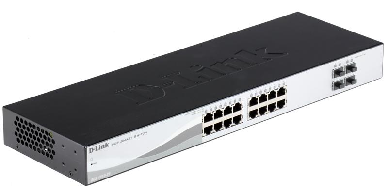 Коммутатор D-Link DGS-1210-20/C1A Настраиваемый коммутатор WebSmart с 16 портами 10/100/1000Base-T и 4 портами 1000Base-X SFP коммутатор d link dgs 1210 20 me a1a