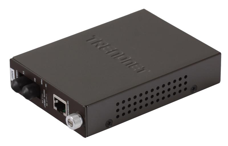 Медиаконвертер TRENDnet TFC-110MST 100Base-FX разъём ST, поддерживающим работу на расстоянии до 2 км, и Ethernet-портом 100Base-TX