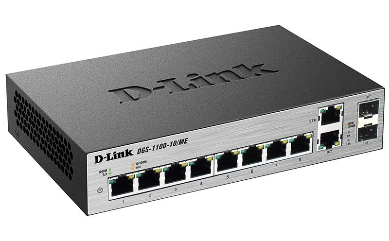 Коммутатор D-Link DGS-1100-10/ME/A1A Настраиваемый коммутатор 2 уровня с 8 портами 10/100/1000Base-T и 2 комбо-портами 100/1000Base-T/SFP коммутатор d link 8 ports 10 100 mbps poe 8 ports 10 100 mbps 2 10 100 1000base t sfp combo ports unmanaged switch