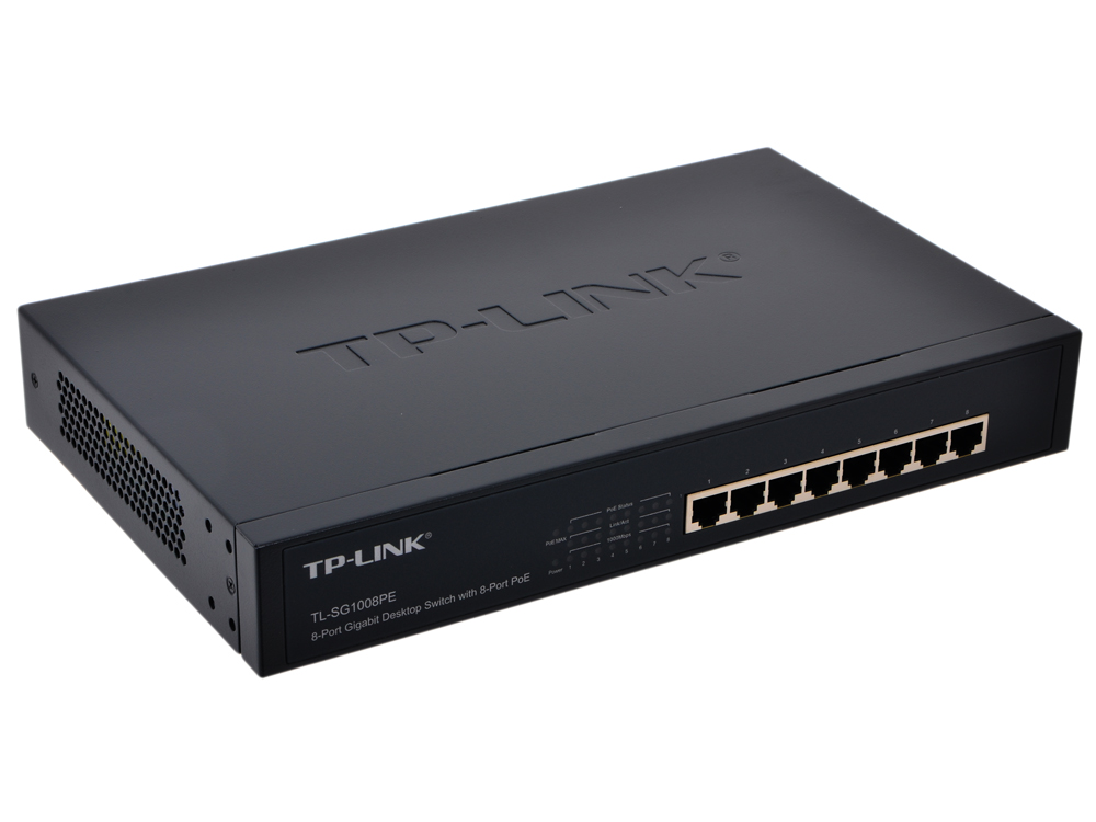 Коммутатор TP-LINK TL-SG1008PE 8-port Gigabit PoE+ Switch, PoE+ for All 8 Ports, 124W PoE power supply, 13-inch rack-mountable steel case new 16ch ports poe fast ethernet switch with 2ch gigabit auto up link switch rj45 network lan switcher 48v poe power supply