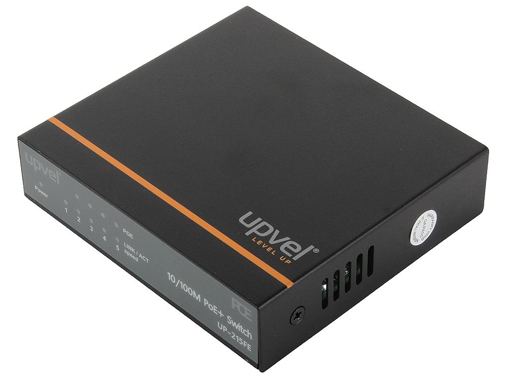 Коммутатор UPVEL UP-215FE 5-портовый 10/100 Мбит/с с 4-мя PoE+ портами, максимальная мощность на порт до 30 Вт, мет. корпус, внешний блок питания коммутатор upvel up 215fe