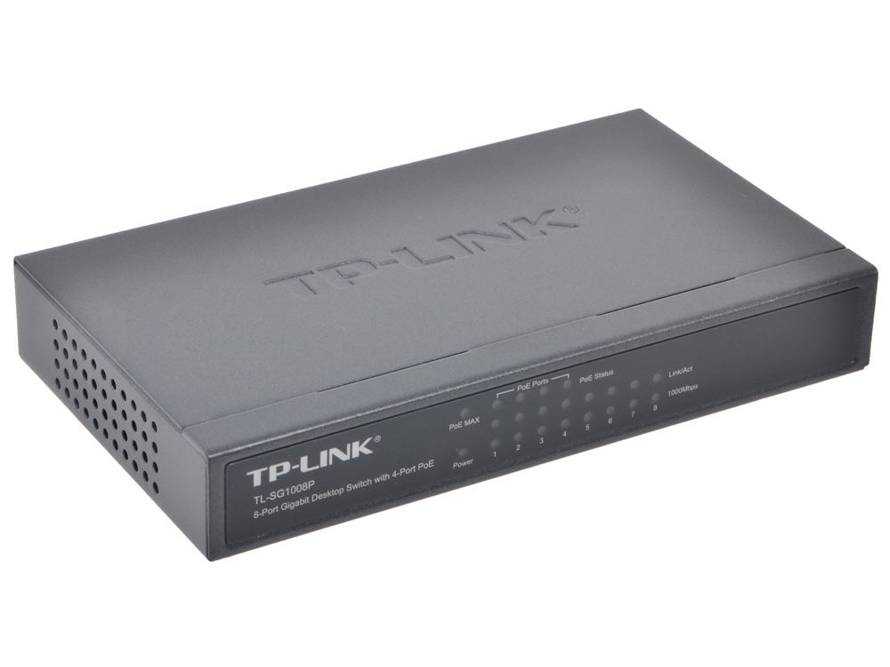 Коммутатор TP-LINK TL-SG1008P 8-Port Gigabit Desktop PoE Switch, 8 Gigabit RJ45 ports including 4 PoE ports, steel case 16 port poe switch with 2 gigabit tp sfp combo ports 802 3af 15 4w 10 100mbps