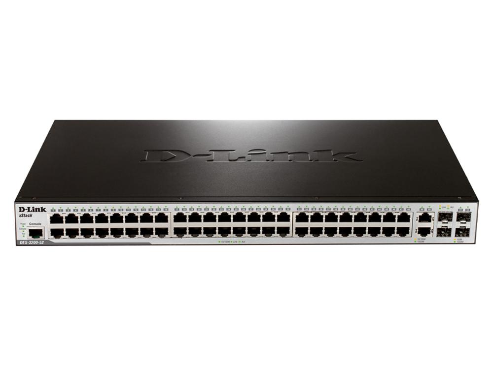 Коммутатор D-Link DES-3200-52/C1B Управляемый коммутатор 2 уровня с 48 портами 10/100Base-TX, 2 портами 100/1000Base-X SFP и 2 комбо-портами 100/1000B