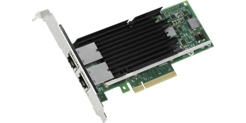 Сетевой адаптер Intel Original X540-T2, Dual Port, RJ-45, PCI-E x8, iSCSI, FCoE, NFS, VMDq