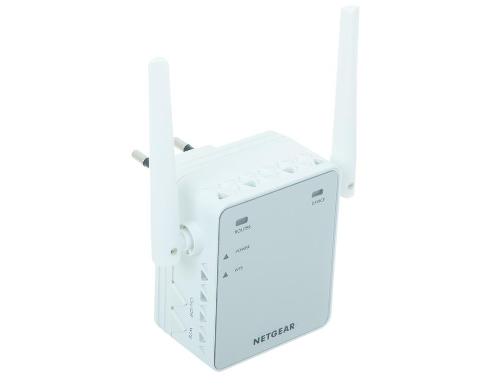 Точка доступа NETGEAR EX2700-100PES Универсальный повторитель беспроводного сигнала 802.11b/g/n 300 Мбит/с, 1 LAN 10/100 -порт, внешние антенны, автоматическое