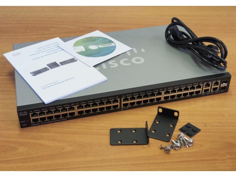 Коммутатор CISCO SG300-52P-K9-EU 48-портовый гигабитный  POE коммутатор (2х GE Combo SFP и 2х 1/5GE)