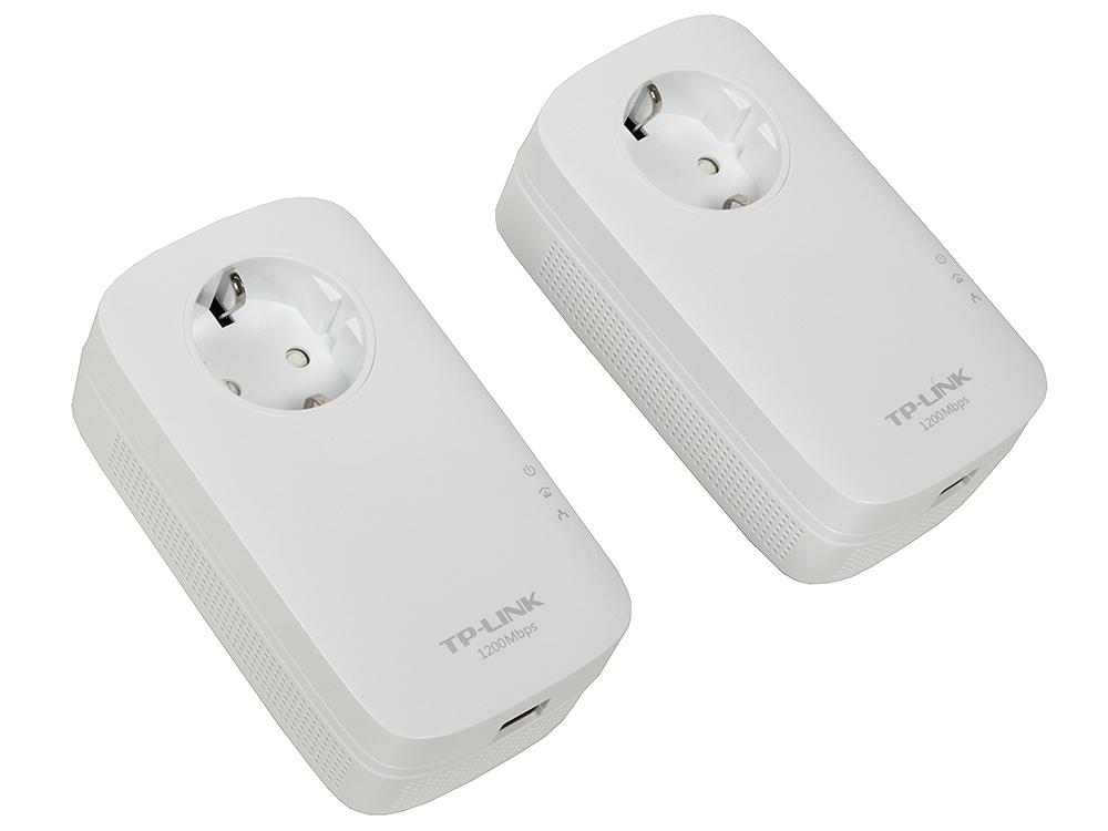 Адаптер TP-Link TL-PA8010PKIT AV1200 Гигабитный адаптер/комплект адаптеров Powerline со встроенной розеткой powerline tp link tl pa8010pkit 1200mbps с розеткой