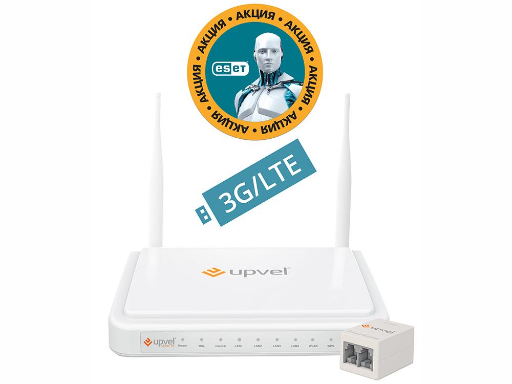 все цены на Маршрутизатор UPVEL UR-354AN4G Bandle 3G/4G/LTE ADSL2+/Ethernet Wi-Fi роутер 300 Мбит/с + Бонус ESET Nod32 Smart Security 3 мес. бесплатно + Карточк