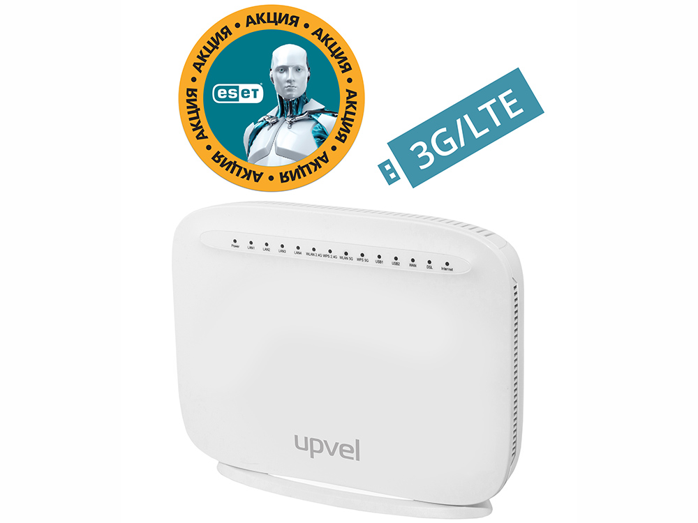 Маршрутизатор UPVEL UR-835VCU Bandle Двухдиапазонный VDSL2 / ADSL2+ / Gigabit Wi-Fi роутер 802.11ac 1600 Мбит/с  + Бонус ESET Nod32 Smart Security 3 м точка доступа adsl upvel ur 203awp 3xlan ip tv