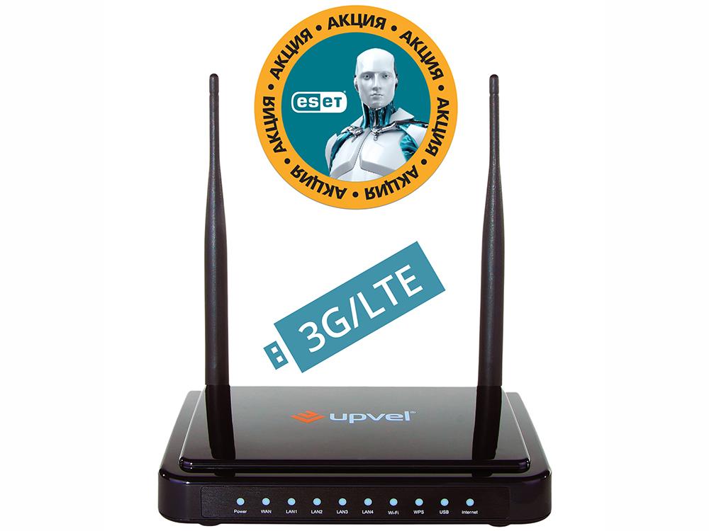 Маршрутизатор UPVEL UR-337N4G Bandle 3G/LTE, стандарта 802.11n 300 Мбит/с Бонус ESET Nod32 Smart Security 3 мес. бесплатно + Карточка на скидку 400 ру адаптер upvel ua 222nu wi fi usb адаптер стандарта 802 11n 300 мбит с