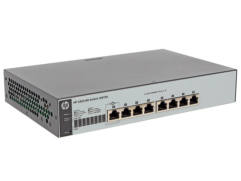 Коммутатор HP 1820-8G (J9979A) Коммутатор второго уровня с интеллектуальным управлением оснащен 8 портами 10/100/1000. коммутатор hp 1820 24g poe j9983a