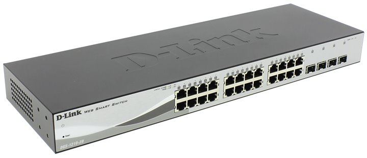 Коммутатор D-Link DGS-1210-28/C1A Настраиваемый коммутатор WebSmart с 24 портами 10/100/1000Base-T и 4 портами 1000Base-X SFP new f189010 second locked printhead dx7 solvent based uv print head for epson stylus pro b300 b310 b500 b510 b308 b508 b318 b518