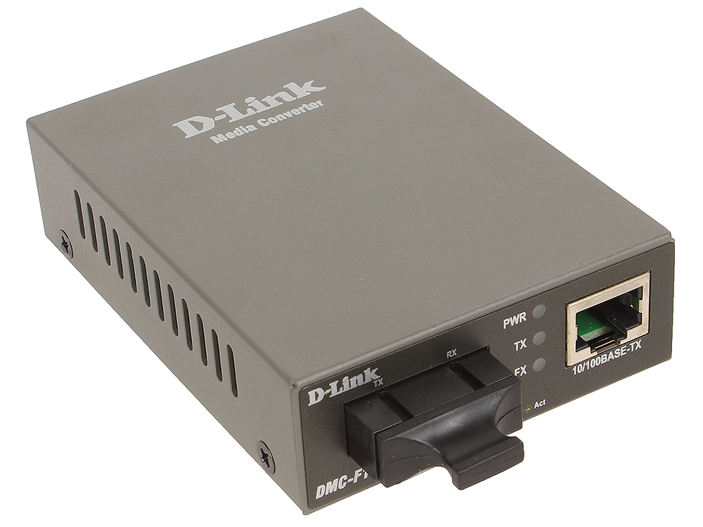 Медиаконвертер D-Link DMC-F15SC/A1A Медиаконвертер с 1 портом 10/100Base-TX и 1 портом 100Base-FX с разъемом SC для одномодового оптического