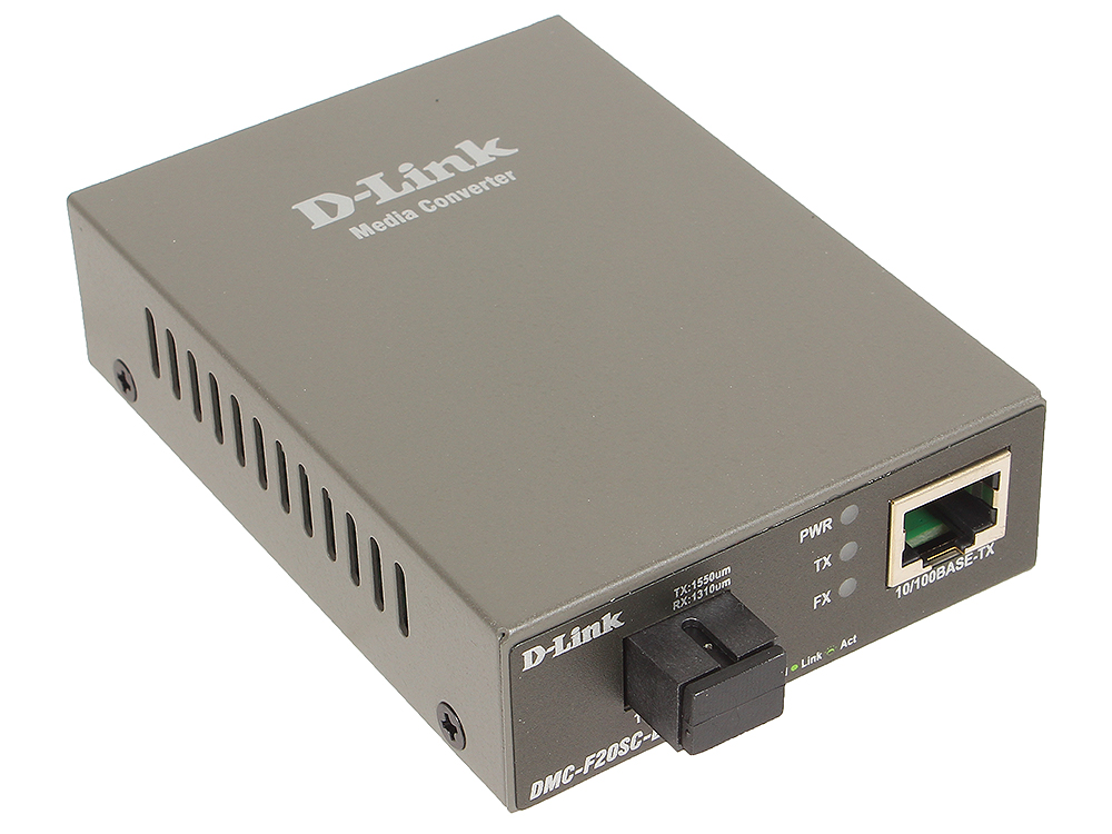 Медиаконвертер D-Link DMC-F20SC-BXU/A1A WDM медиаконвертер с 1 портом 10/100Base-TX и 1 портом 100Base-FX с разъемом SC (ТХ: 1310 нм; RX: 1550 нм) для