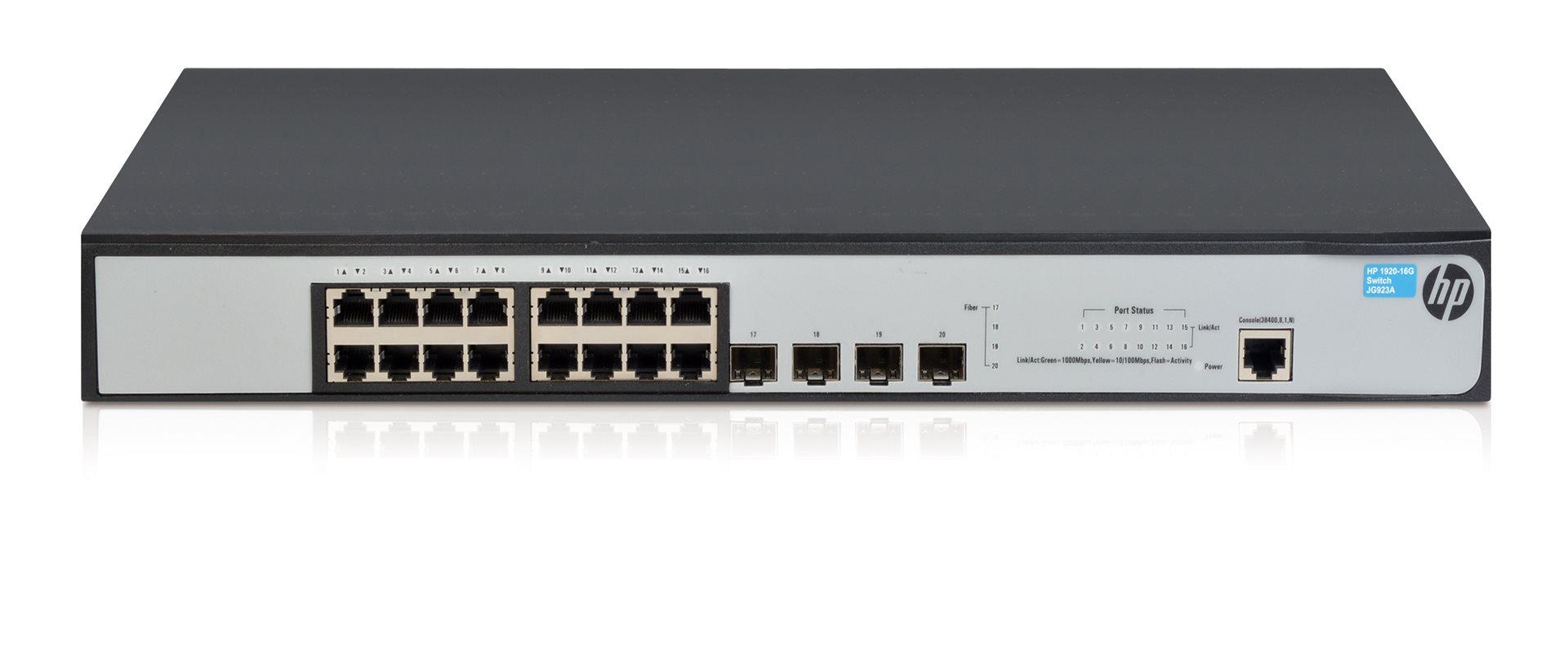Коммутатор HP 1920-16G (JG923A) Коммутатор Gigabit с 16 портами, 4 портами GbE SFP и интеллектуальным управлением. Производитель: HP, артикул: 0312980