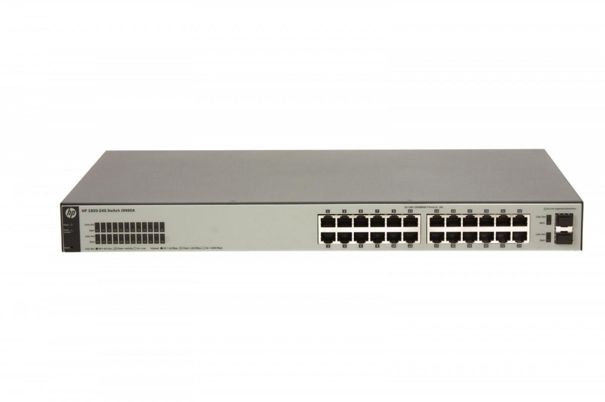 Картинка для Коммутатор HP 1820-24G (J9980A) Коммутатор второго уровня с интеллектуальным управлением оснащен 24 портами 10/100/1000 и 2 портами SFP 100/1000