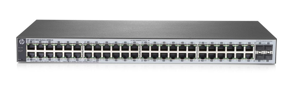 Коммутатор HP 1820-48G (J9981A) Коммутатор второго уровня с интеллектуальным управлением оснащен 48 портами 10/100/1000 и 4 портами SFP 100/1000 коммутатор hp 1820 48g управляемый 48 портов 10 100 1000mbps 4xsfp j9981a