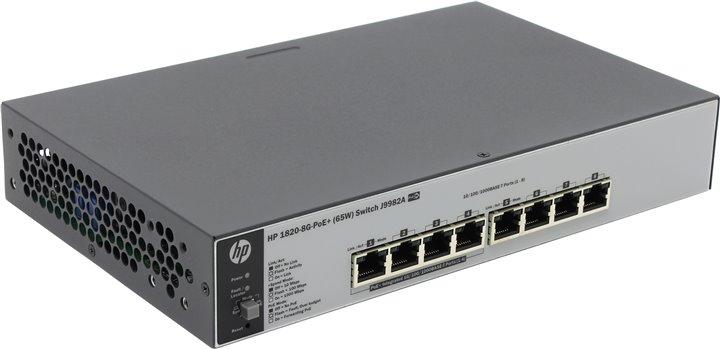 Коммутатор HP 1820-8G-PoE+ (65 Вт) (J9982A) Коммутатор второго уровня 8 портов 10/100/1000 (включая 4 порта PoE/PoE+). коммутатор hp hp e2915 8g poe switch