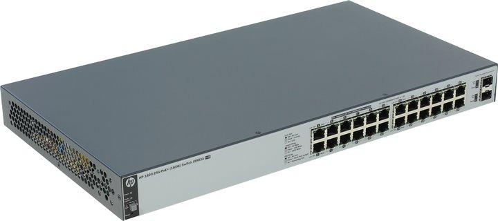 Коммутатор HP 1820-24G-PoE+ (185 Вт) (J9983A) Коммутатор второго уровня 24 порта 10/100/1000 (включая 12 портов PoE/PoE+) и 2 порта SFP 100/1000. коммутатор hp 2530 24g poe j9773a управляемый коммутатор 2 го уровня с 24 портами 10 100 1000 poe и 4 слотами gbe sfp