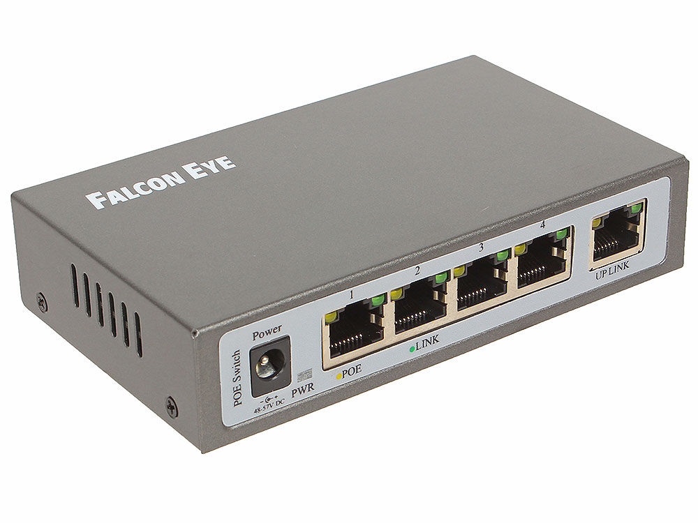 Сетевой коммутатор FE-104POE-S 5 портов 10/100 Мбит/с (IEEE802.3u 100BaseTX) из них 4 c поддержкой PoE (IEEE802.3at) до 15,4Вт на порт (HI POE), Сумма falcon eye fe 104poe s