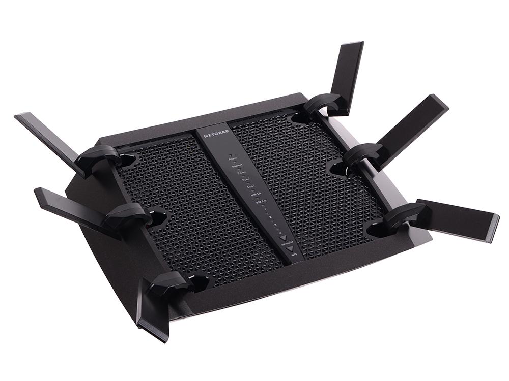 Wi-Fi роутер NETGEAR Nighthawk X6 R8000-100PES 802.11ac, 600+1300+1300Mbps, 2.4/5GHz, 1xWAN, 4xLAN, 2xUSB wi fi роутер netgear jwnr2010 jwnr2010 100rus