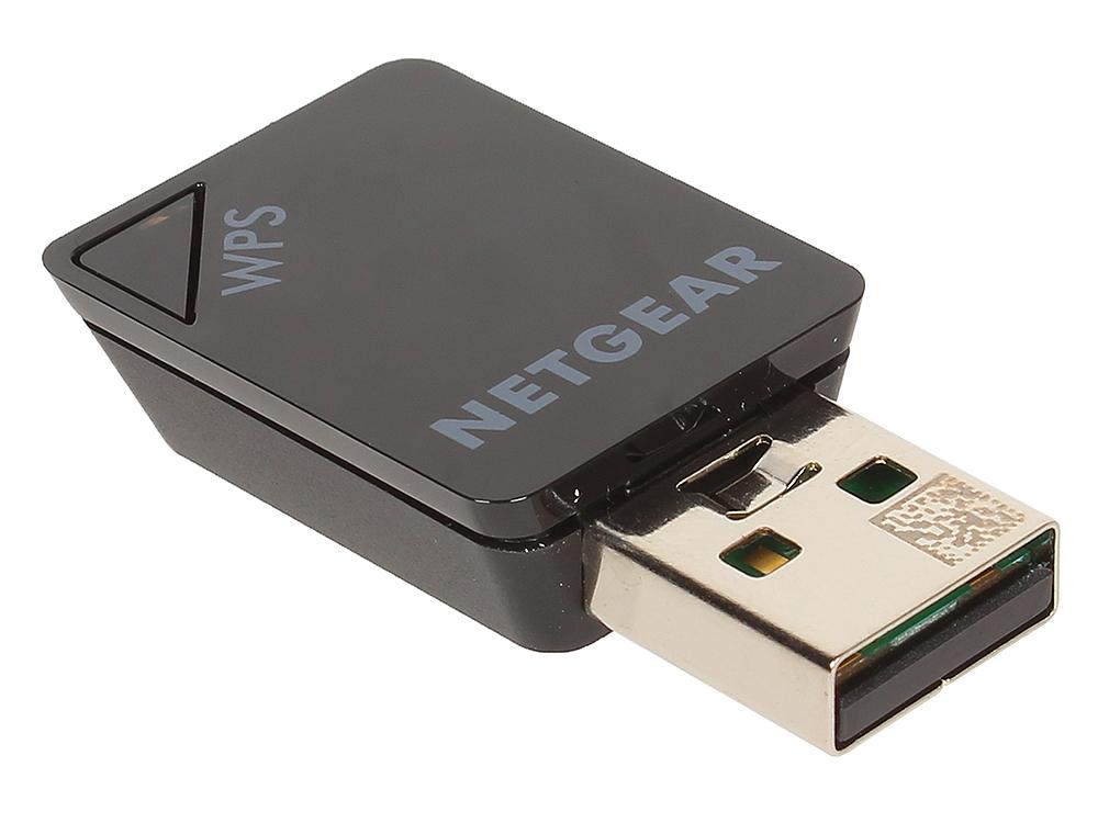Адаптер  NETGEAR  A6100-100PES Беспроводной двухдиапазонный USB 2.0 адаптер 802.11ac 150/450 Мбит/с (2.4 ГГц или 5 ГГц), маленький черный корпус