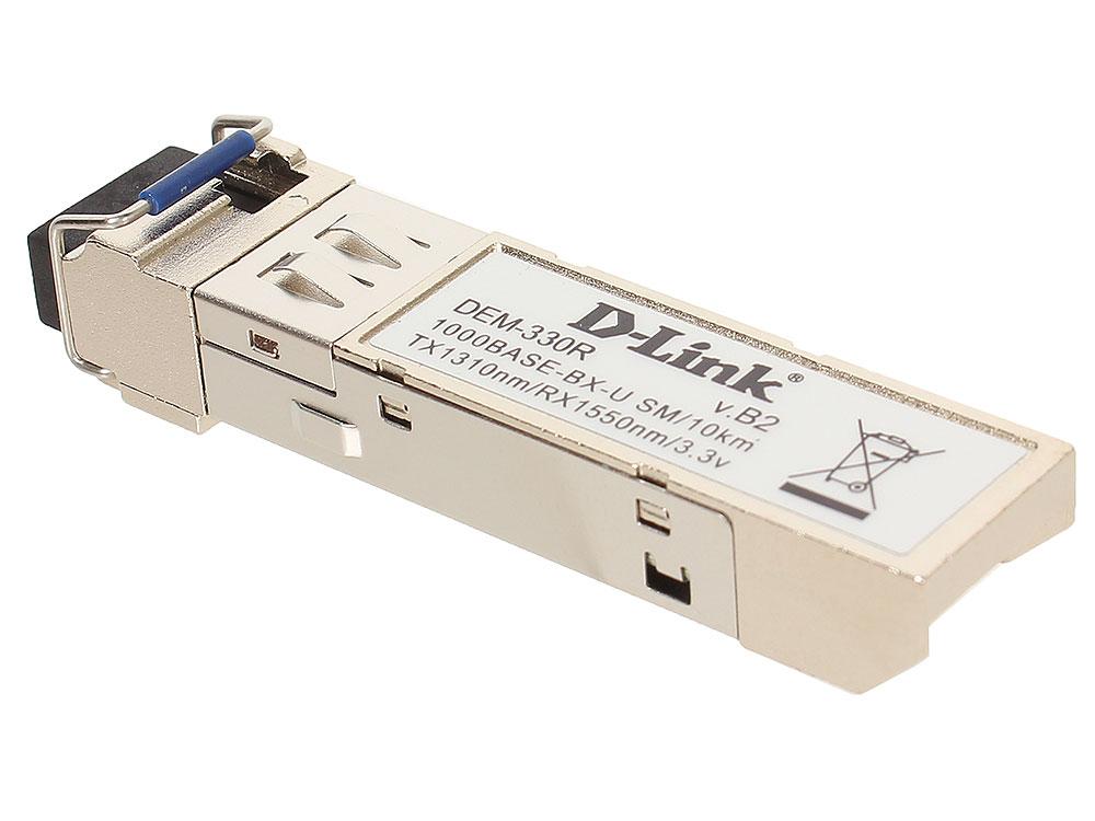 Модуль D-Link DEM-330R/10/B2A (10шт. в коробке) WDM SFP-трансивер с 1 портом 1000BASE-BX-U (Tx:1310 нм, Rx:1550 нм) для одномодового оптического кабел трансивер сетевой d link 100base fx single mode 15km sfp transceiver 10 pack dem 210 10 b1a
