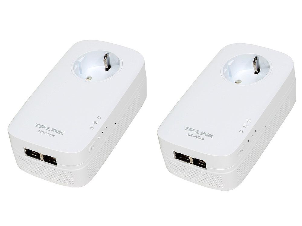 Адаптер TP-Link TL-PA7020PKIT AV1000 Комплект 2-портовых гигабитных адаптеров Powerline со встроенной розеткой powerline tp link tl pa8010pkit 1200mbps с розеткой