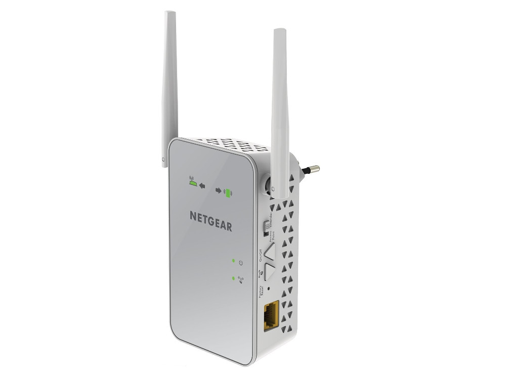 Повторитель сигнала NETGEAR EX6150-100PES Универсальный повторитель беспроводного сигнала 802.11b/g/n/ac 300+900 Мбит/с (2.4 ГГц и 5 ГГц), 1 порт LA повторитель беспроводного сигнала xiaomi mi wifi router 2 белый [dvb4155cn]
