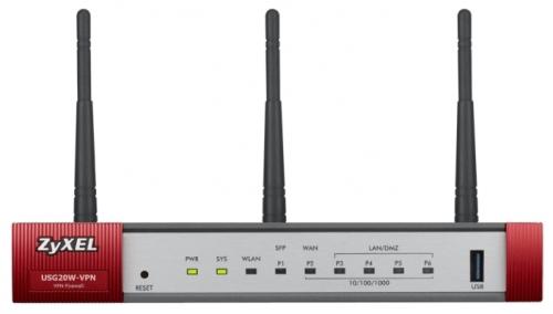 Межсетевой экран Zyxel USG20W-VPN Межсетевой экран для малого офиса с двухдиапазонной точкой доступа 802.11ac и SFP-слотом
