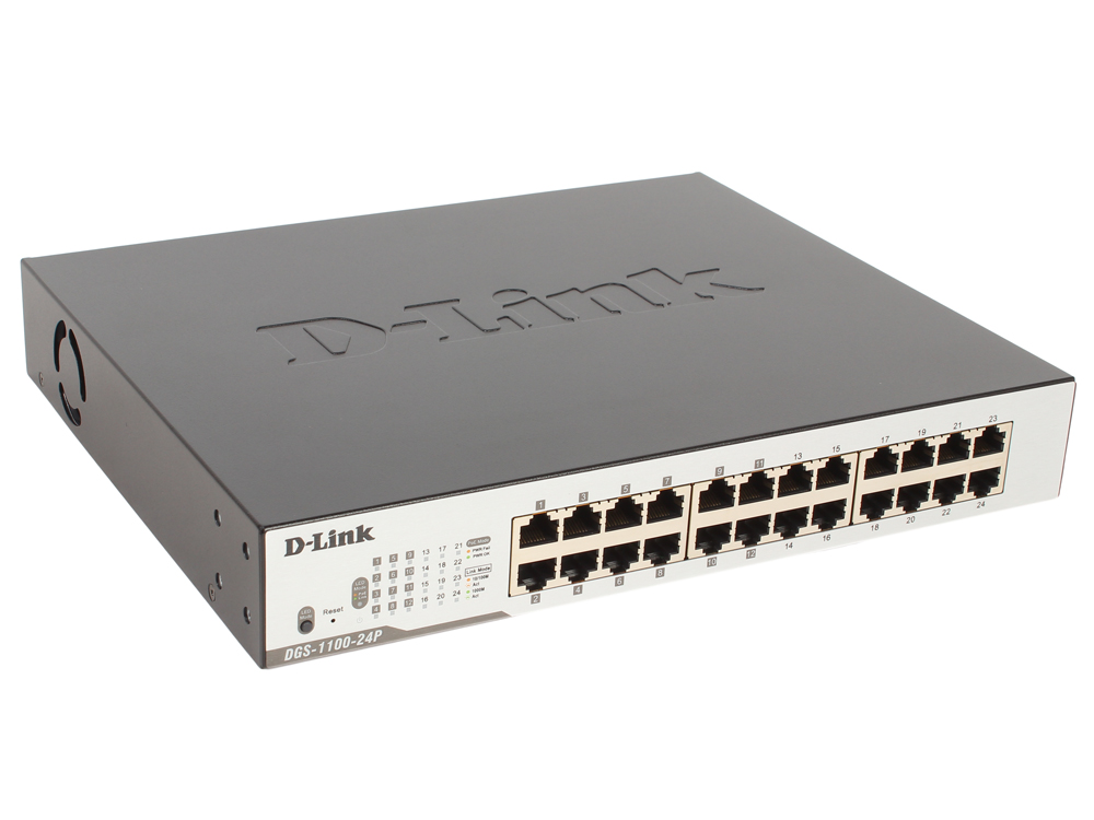 Коммутатор D-Link DGS-1100-24P/B2A Настраиваемый коммутатор EasySmart с 24 портами 10/100/1000Base-T (12 портов с поддержкой PoE 802.3af/802.3at (30 В коммутатор d link dgs 1100 16 b2a