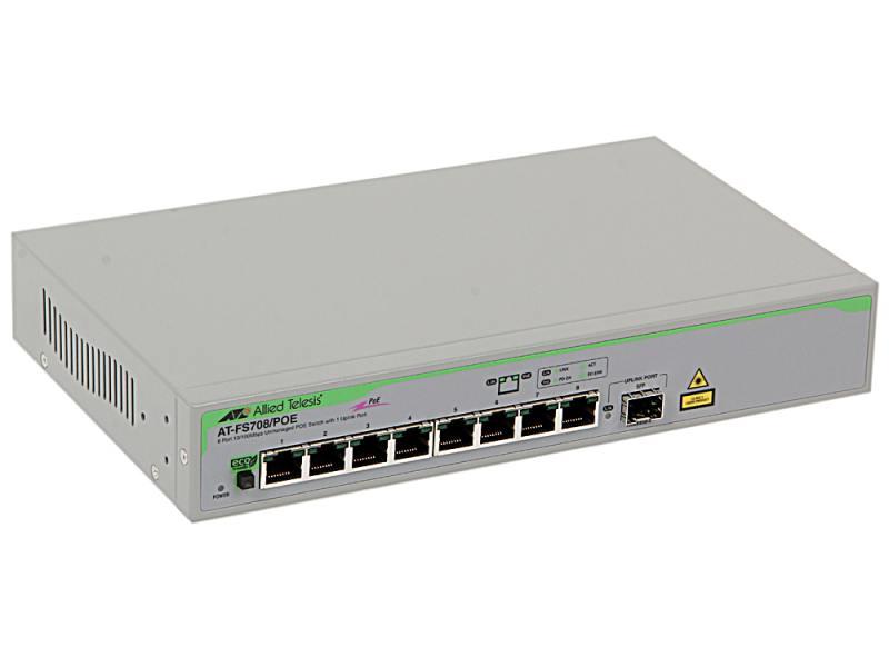 Коммутатор Allied Telesis AT-FS708/POE неуправляемый 8 портов 10/100Mbps 1xSFPuplink PoE коммутатор hp e1910 8 poe управляемый 8 портов 10 100mbps poe jg537a