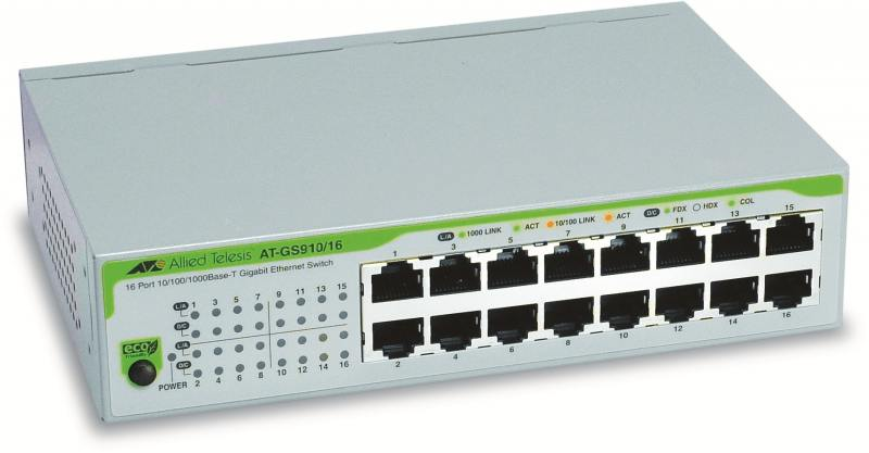 Картинка для Коммутатор Allied Telesis AT-GS910/16-50 неуправляемый 16 портов 10/100/1000Mbps