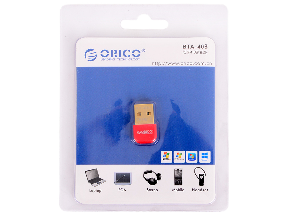 Адаптер USB Bluetooth Orico BTA-403 (красный) USB Bluetooth 4.0